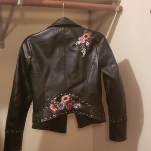 Exquisite embroidered & studded leather jacket